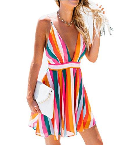 (Franhais Women Sexy Sleeveless Deep V Neck Striped Backless Party Sundress Mini Boho Dress (M,)