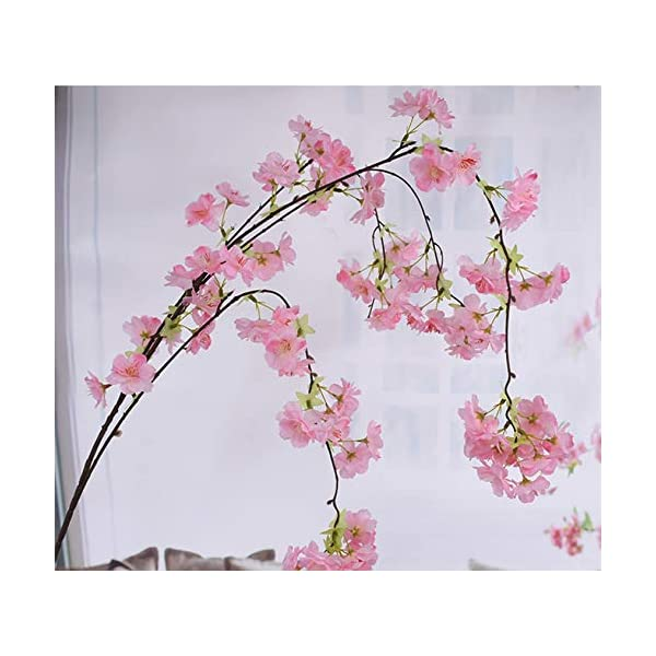 140Cm Natural Vertical Silk Cherry Blossom for Wedding Decoration DIY Cherry Trees Artificial Flower Bouquet,Pink