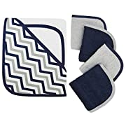 American Baby Company Hooded Terry Cloth Towel and 4 Piece Organic Cotton Washcloth Set, Navy Zigzag