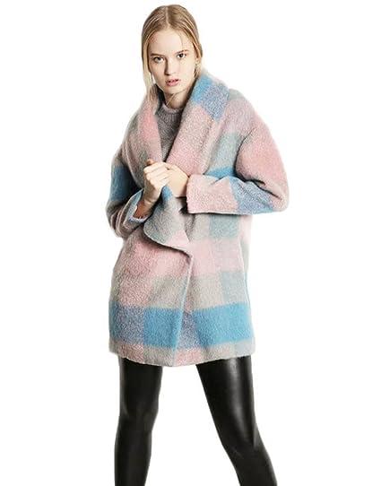 hhdress para mujer Plus tamaño abrigos Outwear Abrigos de Lana de cuadros lana peacoats: Amazon.es: Ropa y accesorios