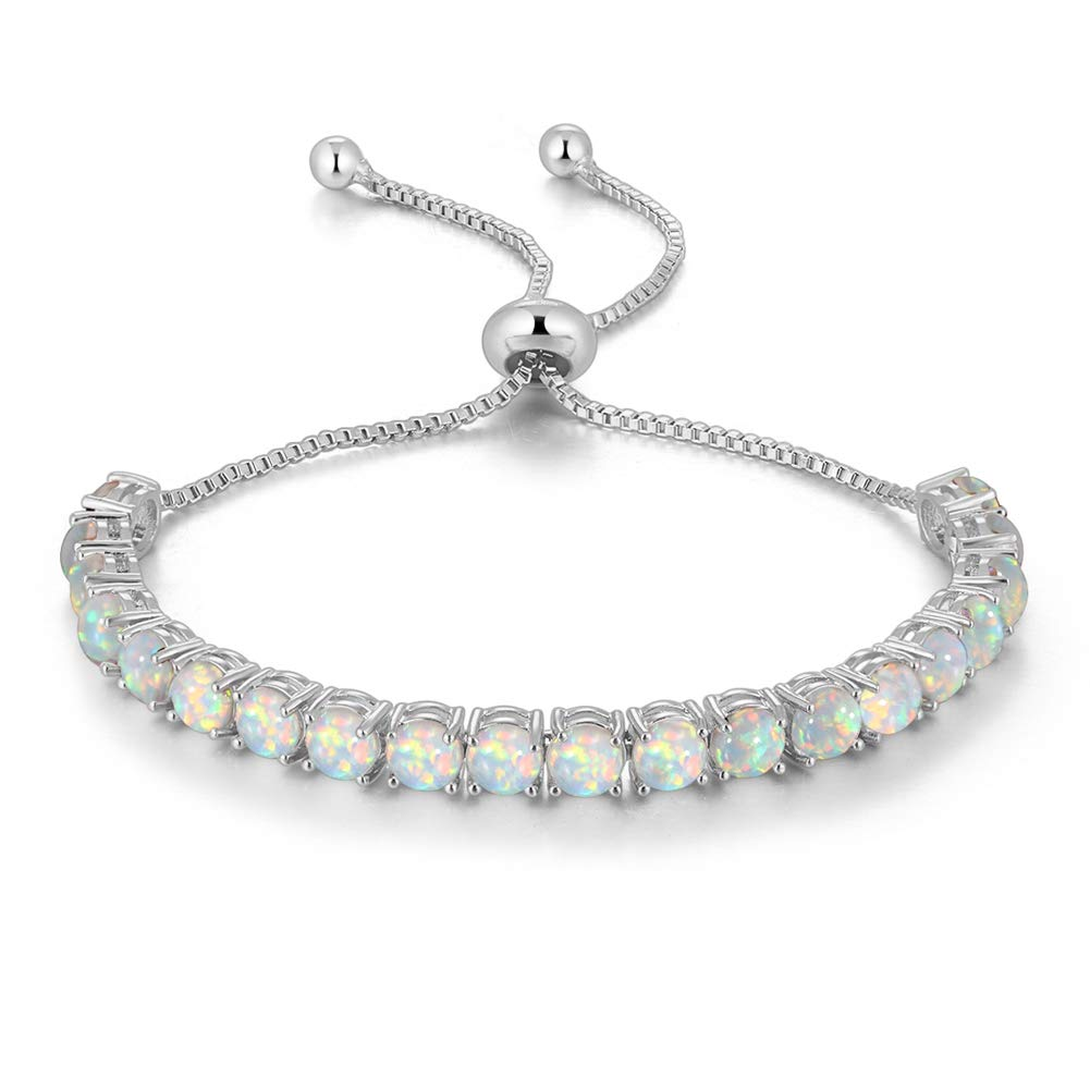 CiNily Adjustable Silver Plated White Opal Tennis Bracelet for Women- Fashion Jewelry Gift by CiNily