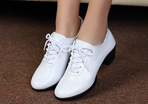 YouPue Damen Herbst PU Leder Niedrig Verfolgte Tanzschuhe Lace-up Latin Dance Schuhe Solide Farbe Weiß