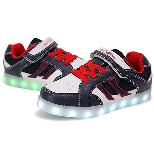 HUSK'SWARE USB de Carga de 7 Colores Light up Shoes for Kids de Luz LED Unisex Zapatilla de Deporte del Zapato por la Fiesta de Baile de Navidad de azul