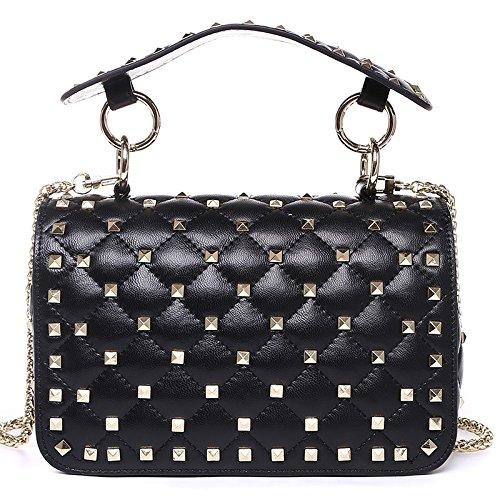 bandoulière sac en main sac cuir sac large Red à rivet bandoulière Mesdames à à Lingge w5Iqzx