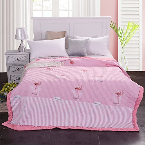 "Hot KFZ Hydro-Cotton Summer Quilt Comforter Bedspread for Bed Breathable XS Three Sizes With Forest Bear Pretty Flamingos Flower Sea Fashion designs One Piece (Pretty Flamingos,Pink, Queen, 78""x91"") free shipping NNfaiPMo"