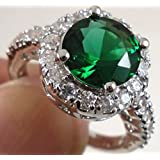 Fashion Women 925 Sterling Silver Emerald Gemstone Ring Wedding Jewelry New (9)