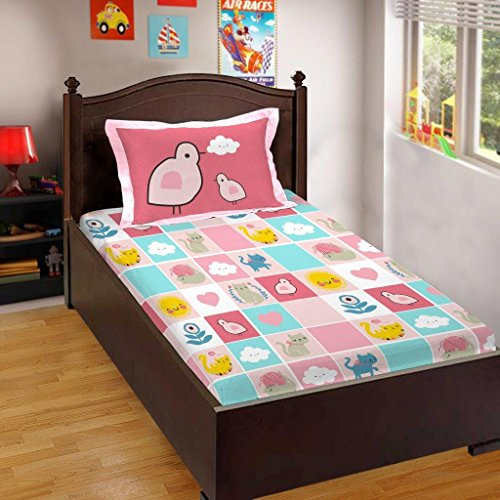 Bombay Dyeing Bd Kids 144 TC Cotton Single Bedsheet with 1 Pillow Cover – Pink
