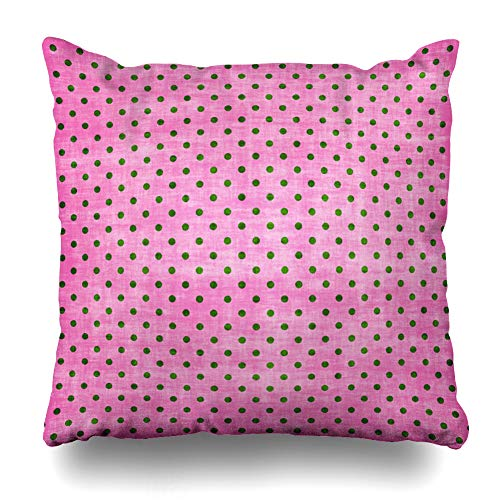 Ahawoso Throw Pillow Cover Digital Green Pink Distressed Polka Dot Girly Grunge Pattern Boutique Girl Birthday Name Design Home Decor Cushion Case Square Size 20 x 20 Inches Zippered Pillowcase