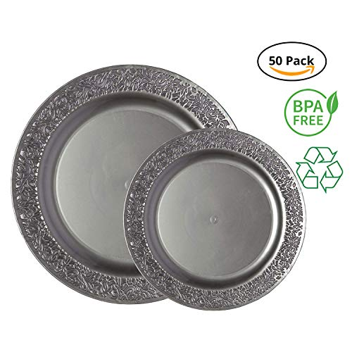 Party Joy 50-Piece Plastic Dinnerware Set | Lace Collection | (25) Dinner Plates & (25) Salad Plates | Heavy Duty Premium Plastic Plates for Wedding, Parties, Camping & More (Grey)