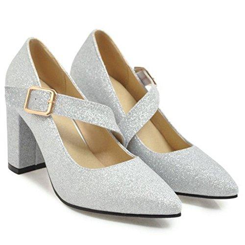 KemeKiss Women Pumps Heel Block Toe Silver Pointed wwOBz