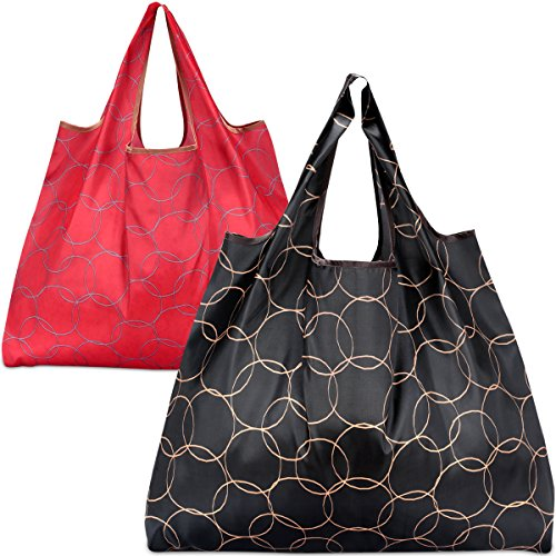 2 Pack Reusable Grocery Bags, KINGMAS Foldable Shopping Tote Bag, Nylon Reusable Shopping Bags, Washable/Durable/Lightweight