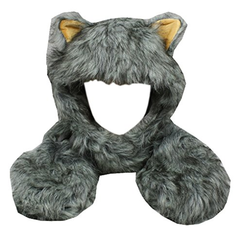 Silver Fever Plush Soft Animal Beanie Hat with Built-in Earmuffs, Scarf, Gloves (Fluffy Grey - For Kids Hatimals