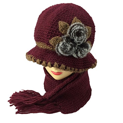 Handmade Wool Cap - Losuya® Middle-aged Mom Pots Hat Handmade Knitted Wool Hat Knitted Scarf Two Sets (Burgundy)
