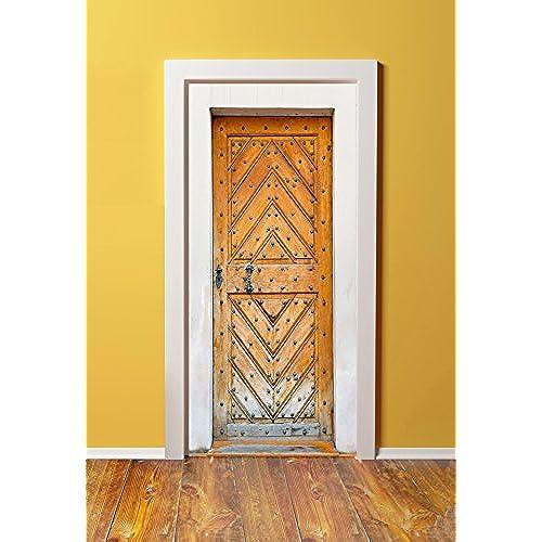 DoorPix 36x80 / 36 x 80\  3D Door Mural Wrap Glossy Bubble Free Sticker Antique Weathered Oak Door - PEEL and STICK - Easy-to-clean Durable  sc 1 st  Amazon.com & Door Murals: Amazon.com