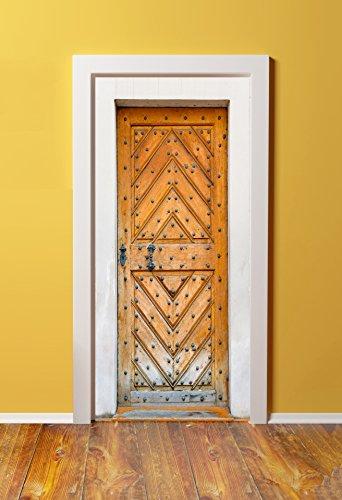 DoorPix 36x80 / 36 x 80'' 3D Door Mural Wrap Glossy Bubble Free Sticker Antique Weathered Oak Door - PEEL and STICK - Easy-to-clean, Durable by Windowpix