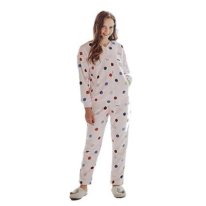 Ladies Winter Sweet Keep Warm pijamas de manga larga traje Pink Cartoon Cardigan franela ropa para