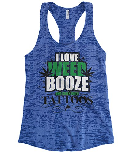 Cybertela Women's I Love Weed Booze and Girls With Tattoos Burnout Racerback Tank Top (Royal, Medium) (Best Buds Weed Tattoo)