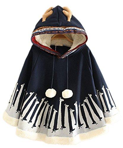 Season Show Womens Hooded Pullover Sweater Hoodie Cute Shawl Cape Navy (Jacke Damen)