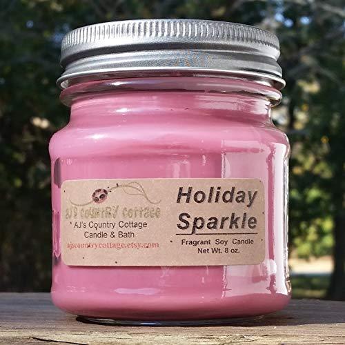 Holiday Sparkle Soy Candle - Apple Cider, Christmas Tree, Cranberry, Orange, Cinnamon, Clove, Vanilla