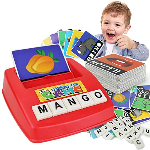 (DREAMT English Alphabet Card Game Machine, English Word Puzzle Alphabet Spelling Game Early Educational Toy for Kids and Toddlers)