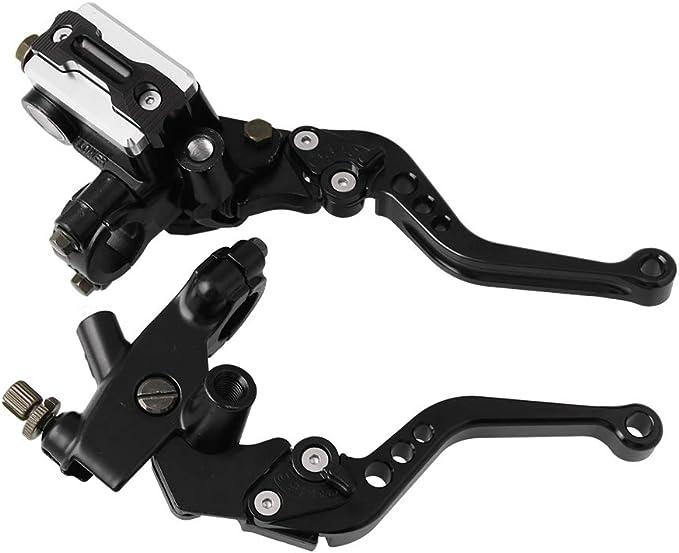1 Pair Motorcycle Brake Master Cylinder Universal CNC Clutch Levers Reservoir Set for Honda Suzuki Yamaha /& More,Black