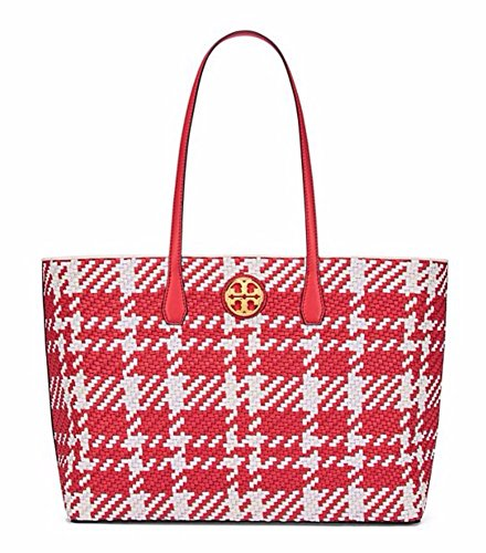 Tory Burch Duet Woven Leather Tote (Cherry Apple / New Ivory / White) (Tote Duet)