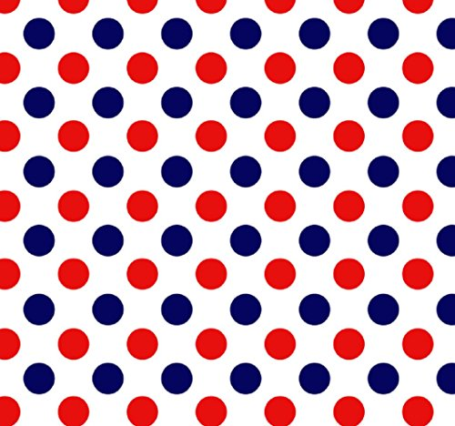 (Knit 3 Color Dots Navy, Red and White Design Fabric by the Yard, 95% Cotton, 5% Lycra, 60 Inches Wide, excellent quality, medium weight, 4 way stretch (4)