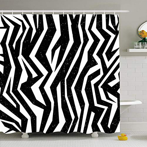 Ahawoso Shower Curtain 60x72 Inches Set Blue Pattern Skin Zebra Abstract Mammal Wildlife Green Leopard Africa Black Camouflage Design Fur Waterproof Polyester Fabric Bathroom Curtains Set with Hooks