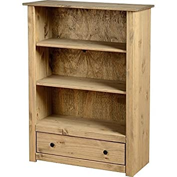 Bookcase Pine  Drawer  Book Shelves Solid Wood Furniture Waxed