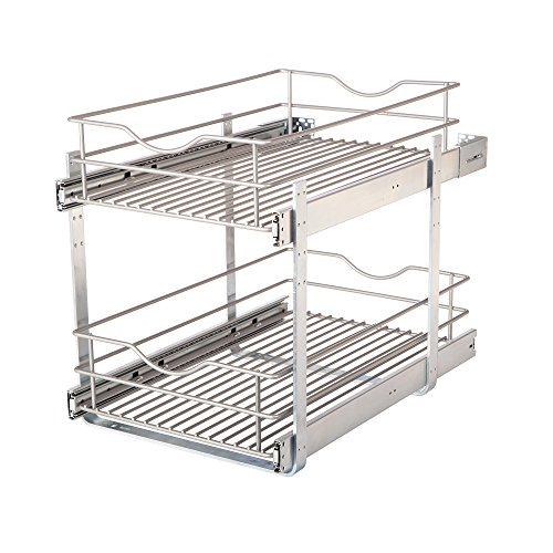 Knape & Vogt DBLMUB-14-R-FN Double-Tier Multi Pullout 14 in. Wire Basket, Frosted Nickel