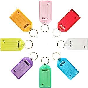 OFFIWIN 24 PCS Plastic Key Tags Keys Identifier ID Labels with Split Ring Label Window, Assorted Colors in one PET Jar
