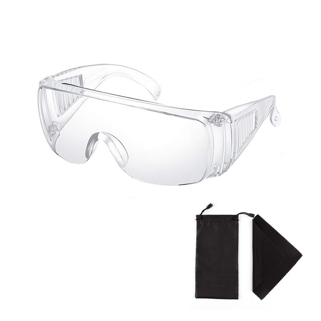 Claro Seguridad Lentes Personal Protector Equipo Transparente Adulto Encima Los anteojos Gafas de protección por Construcción, Laboratorio, Clase de quimica, con Lentes Bolso