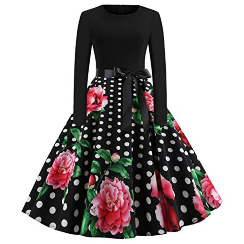 TOTOD Vintage Dress for Women, 1950s Elegant Lace O Neck Floral Print Dress Fashion Party Swing Dresses