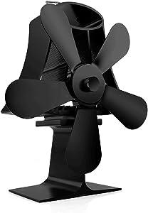 GKCI Stove Fan, 5-Blade Heat Powered Fireplace Fan,for Wood/Log Burner/Fireplace