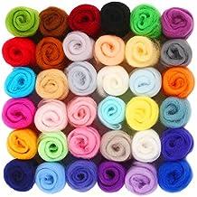 SOLEDI Fibre Wool Yarn Roving, Set of 36 Colors