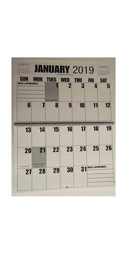 Jumbo Large Print 2019 Wall Calendar 13-Months, 17'' x 11'', or Hanging it is 17'' x 22''