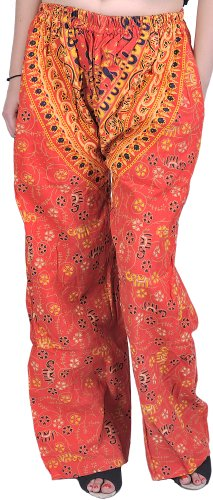 Exotic India Firecracker-Red Casual Trousers from Pilkhuwa with Printed Elephant