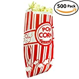 popcorn serving - Popcorn Bags - Single Serving 1oz Paper Sleeves in Nostalgic Red/White Design (500)