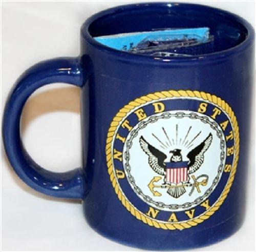 Emblem Mug - 12oz Blue U.S. Navy Emblem Seal Crest Ceramic Mug with 12x18 Navy Flag