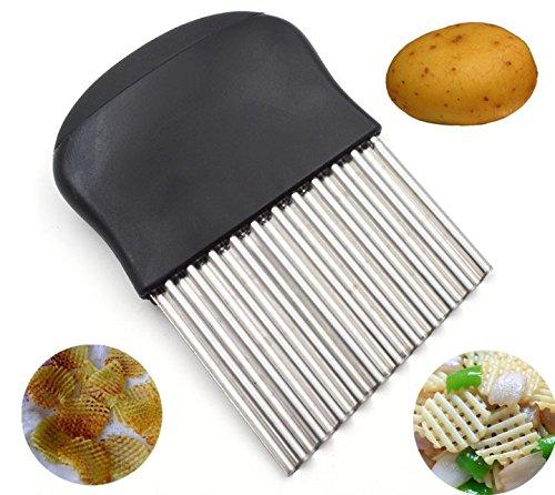 Lancoon Potato Slices Knife, Wrinkled Wave French Fries Salad Corrugated Cutting Knife Multi-Function Chopper KT44
