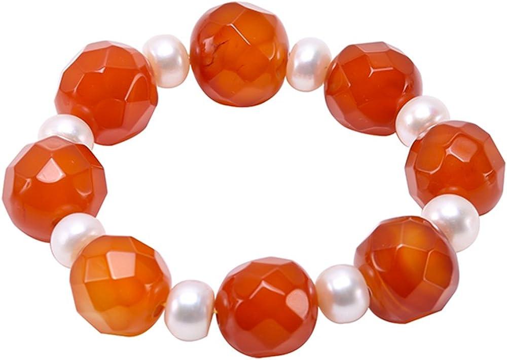 JYX 18 mm redondo naranja facetado ágata elástica pulsera de cuentas de ónice oración pulsera para hombres y mujeres elástica piedra natural curación pulsera energía positiva Mala pulsera