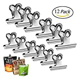 #7: Chip Clips Bag Clips Food Clips - Heavy Duty Stainless Steel Clips for Bag, Silver - All-Purpose Air Tight Seal Good Grip Clips for Office School Home
