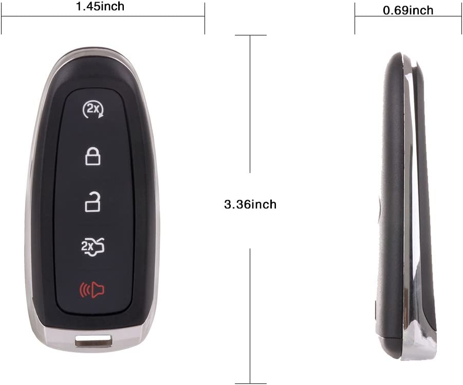 ECCPP Replacement fit for Uncut Keyless Entry Remote Control Car Key Fob Shell Case Lincoln//Ford Series Pack of 4