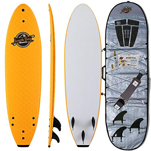 Soft Top Surfboard + Bag Package - Best Foam Surf Board for Beginners, Kids, and Adults - Soft Top Surfboards for Fun & Easy Surfing - 7' Ruccus, 8' Verve & 8'8 Heritage Surfboards All Wax-Free (Jet Deck Longboard)