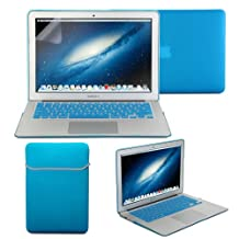 GMYLE(R) Hard Case Frosted for MacBook Air 11 inch - Iris Blue 4 in 1 Rubberized (Rubber Coated) Hard Case Cover - Soft Sleeve Bag and Silicon Keyboard Protector - Clear LCD Screen Protector