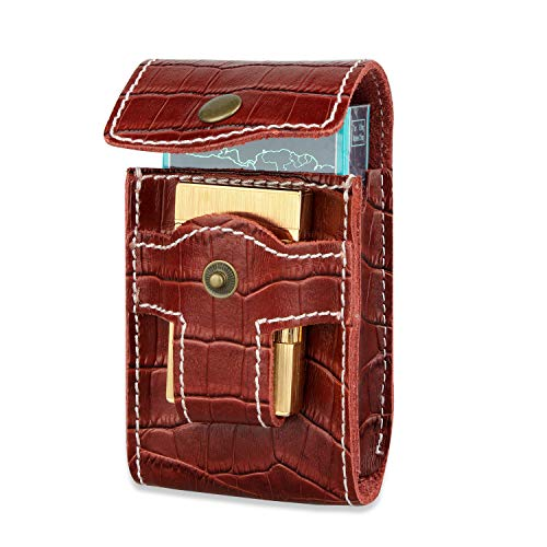 Genuine Leather Cigarette Case Pouch with Lighter Holder Waist Belt Loop Cigarette Pack Case ()