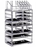 Cq acrylic Large 8 Tier Clear Acrylic Cosmetic Makeup Storage Cube Organizer with 10 Drawers. It Consists of 4 Separate Organizers, Each of Which Can be Used Individually -9.5''x6.5''x14.5''