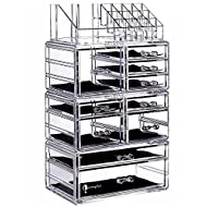 """Cq acrylic Large 8 Tier Clear Acrylic Cosmetic Makeup Storage Cube Organizer with 10 Drawers. It Consists of 4 Separate Organizers, Each of Which Can be Used Individually -9.5""""x6.5""""x14.5"""""""