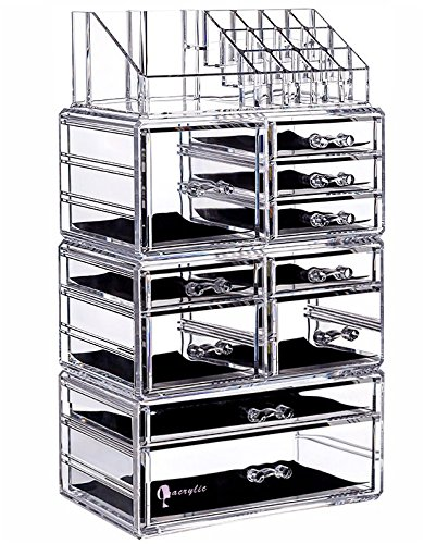 Cq Acrylic Large 8 Tier Clear Acrylic Cosmetic Makeup Storage Cube  Organizer With 10 Drawers.