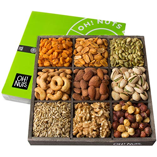 - Oh! Nuts Holiday Nuts Gift Basket, 9 Variety Mixed Nut Assortment Wood Tray Baskets, Gourmet Christmas Roasted Healthy Fresh Food Care Package for Corporate, Mothers, Fathers Day or Thanksgiving